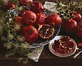 An arrangement of pomegranates