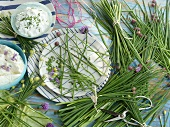 An arrangement of chives and quark