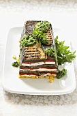 Aubergine and pepper terrine with goats' cream cheese
