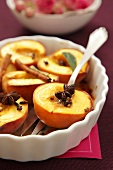 Baked peaches with spices