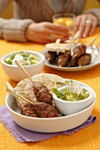 Kofta with pita bread and gherkin salad