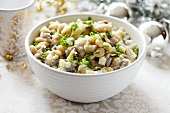 Herring salad with white beans for Christmas dinner