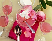 Rose and champagne jelly with lemon cream