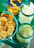 Banana chips and three different Caribbean cocktails
