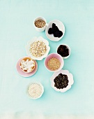 Ingredients from muesli in various bowls