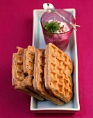 Spicy buckwheat waffles with leek and ramson cream