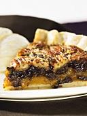Piece of pecan pie (close-up)