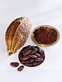 Cocoa beans, cocoa fruit and cocoa powder