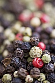 White, pink and black peppercorns