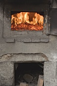 Fire in an old stone oven