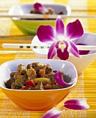 Kangaroo curry with orchid