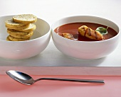 Tomato soup with grilled John Dory
