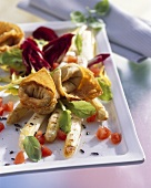 Spring salad with grilled asparagus and turkey wonton