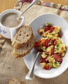 Scrambled egg with vegetables and cabanossi