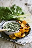 Creamed spinach with grilled butternut squash