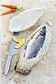 Sea bass in salt crust