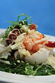 Seafood salad with seaweed