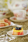 Raspberry and mango mousse with blueberries