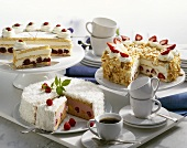 Three different fruit cream cakes to serve with coffee