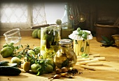Pickled gherkins, green tomatoes, baby corn