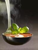 Kelle mit Tomatensuppe und Creme Fraiche