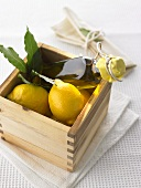 Home-made lemon and bay flavoured oil