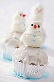 Muffin with marzipan snowman