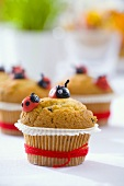 Muffin with marzipan ladybirds