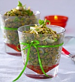 Lentil and onion salad with fresh herbs