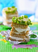 Soft cheese sandwiches with herbs