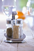 Pepper shaker, salt shaker and toothpicks