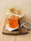 Apricot and melon jam in jar