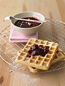 Waffles with sour cherry jam