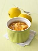 Lemon marmalade with lemon balm in green ramekin
