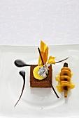 Elegant chocolate dessert with saffron and dates