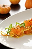 Marinated salmon trout on pumpkin chutney