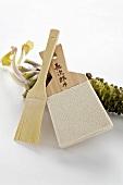 Wasabi, shark skin wasabi grater and wooden brush