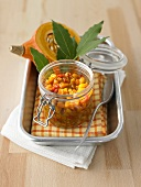Home-made pumpkin chutney in a preserving jar
