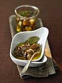 Pickled mushrooms in olive oil