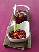Cherry compote with rosemary and orange zest