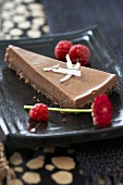 Piece of chocolate cake with coconut and raspberries