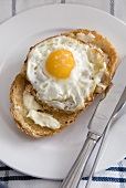 Fried egg on buttered toast (with sea salt butter)