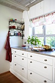 Kitchen drawers by window
