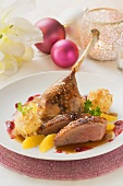 Duck with almond dumplings & orange segments for Christmas