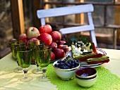 Plates, napkins, glasses and fruit on table in garden