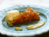 Candied orange with ginger ice cream