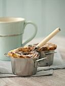 Quark soufflés with chocolate filling