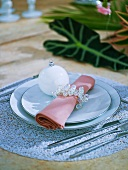 Place-setting with elegant napkin ring & Christmas bauble