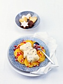 Polar bear (spiced honey ice cream) on orange & pomegranate salad