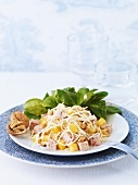 Celeriac salad with nuts, pineapple and meat terrine